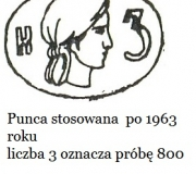 004; Poland; After 1963; Women headsilver fineness.800 silver hallmark